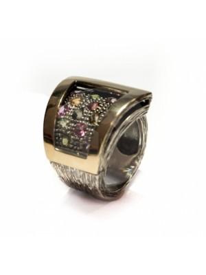 Styliano anillo antiestres de plata, oro, y Howlita