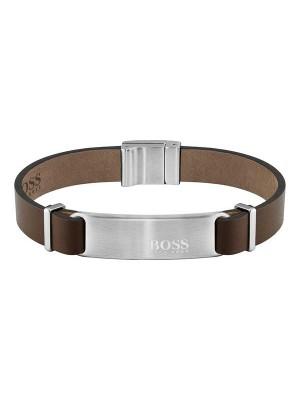 Hugo Boss, pulsera de piel marrón para hombre
