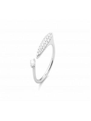 Facet, anillo abierto de fantasía en oro blanco y diamantes