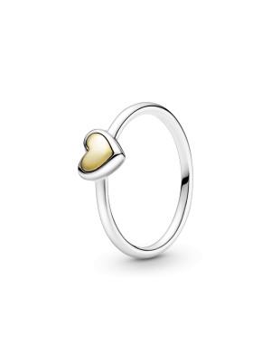 Pandora anillo Corazón de Centro Dorado