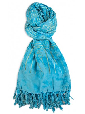 Plata de Palo Sarong rayón flores azul