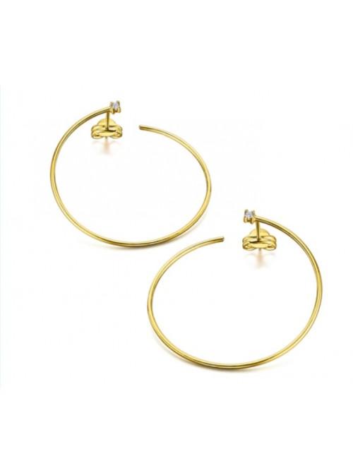 LeCarré pendientes con forma de Aro alargado de Oro con Diamantes