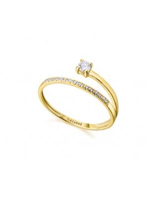 LeCarré anillo solitario de Oro y Diamante