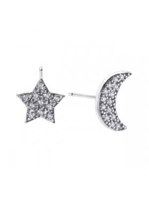 Pendientes Astros Luna y  Estrella en plata de Duran Exquse