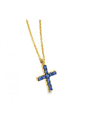 Gargantilla cruz de oro amarillo con zafiros azules de Lecarre