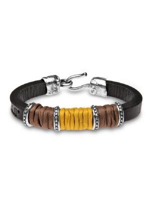 PlatadePalo pulsera de cuero, plata y seda-LSK1