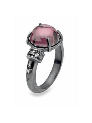 Plata de Palo anillo plata, circonitas y cuarzo rosa