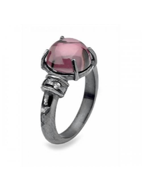 Plata de palo anillo cuarzo rosa