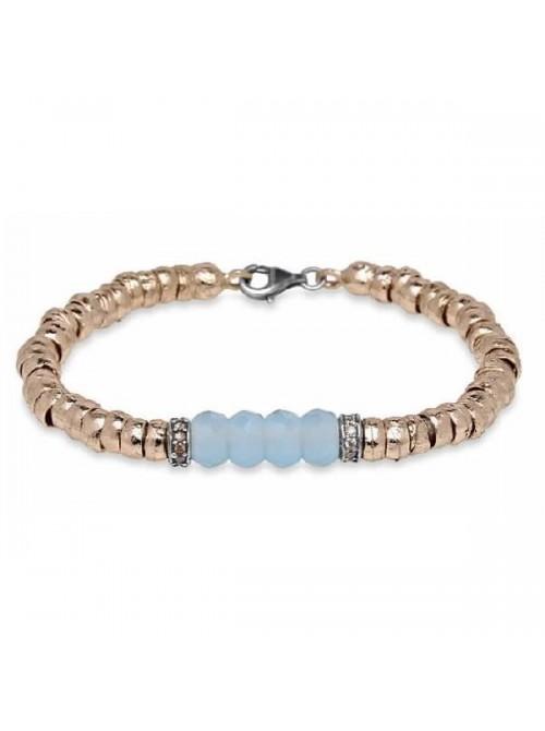 Plata de Palo pulsera de bronce, circonitas y cristal color topacio azul