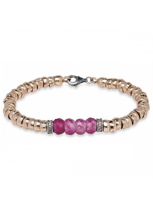 Plata de Palo pulsera de bronce, circonitas y cristal color rubi