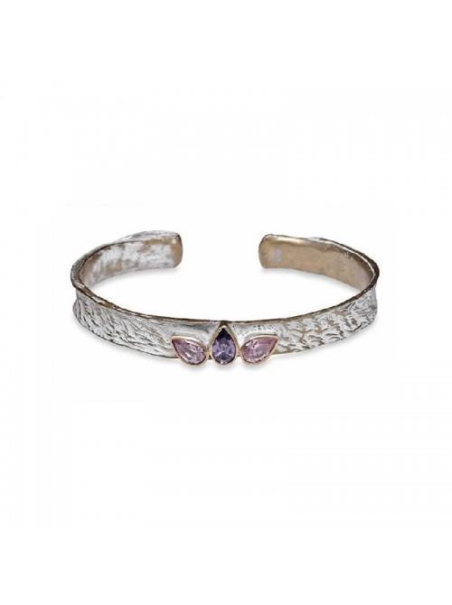 PlatadePalo pulsera de bronce y cristal-TBF11C