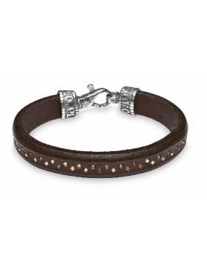 PlatadePalo pulsera de cuero, plata y bronce-MB18C