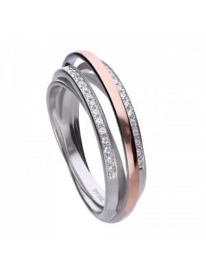 Diamonfire anillo triple entrelazado bicolor