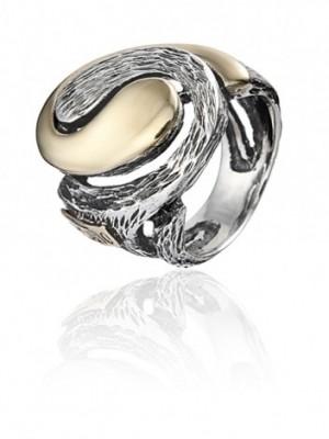 Styliano anillo Ying-Yang en plata y oro