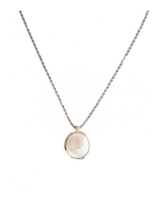 Styliano collar de plata y oro con perla