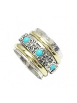 Altana anillo anti-stress plata, bronce y turquesas
