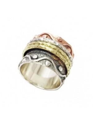 Altana anillo anti-stress plata y bronce rosa y amarillo