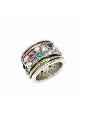 Altana anillo anti-stress plata, bronce, cobre y piedras