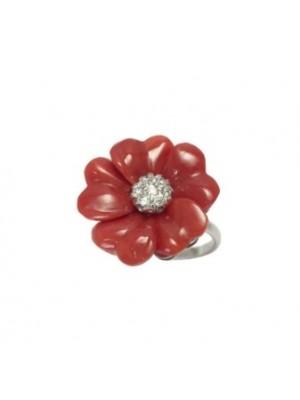 Altana anillo flor de plata, coral y circonitas
