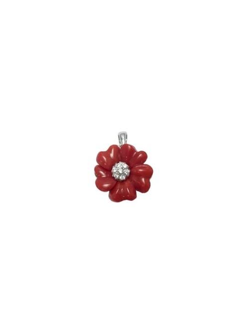 Altana colgante flor de plata, coral y circonitas