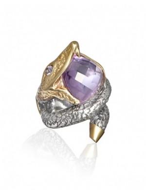 Styliano anillo de plata y oro amatista e iolita