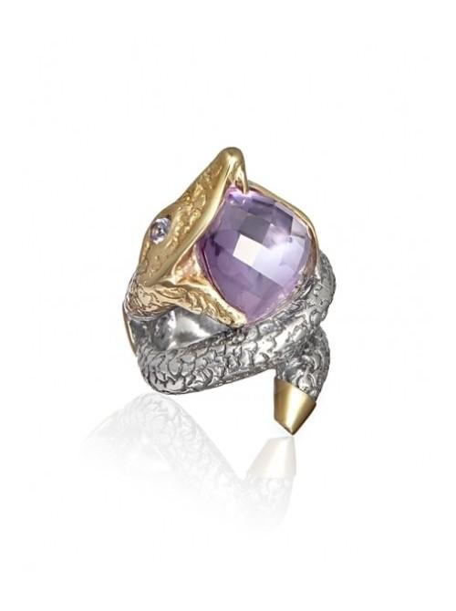 Styliano anillo Herodian de plata, oro amatista e iolita