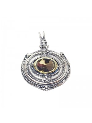 Altana colgante plata, bronce y citrino