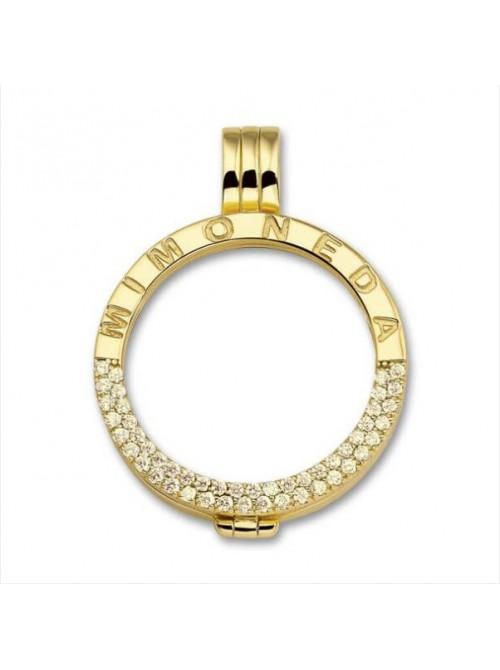 Mi Moneda, colgante plata de Ley Gold cristal M