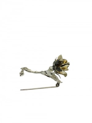 Opera Collection broche flor rosa plata