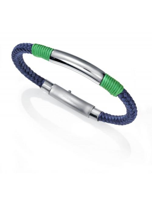 Viceroy, pulsera cordon de nylon azul trenzada y acero