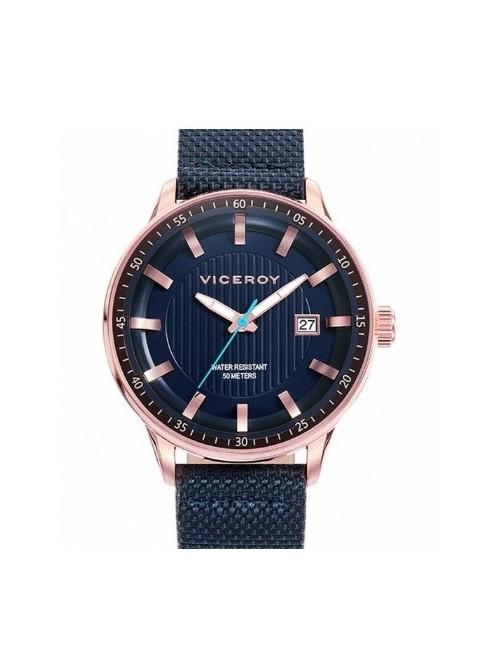 Viceroy reloj Icon acero rosado con correa piel-nylon