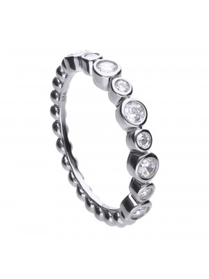 Diamonfire anillo fantasía de plata y circonitas en bisel