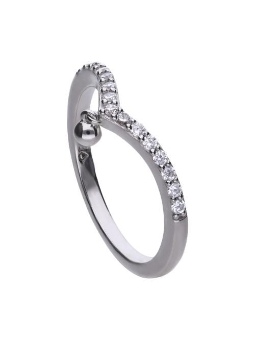 Diamonfire anillo de plata en forma de V