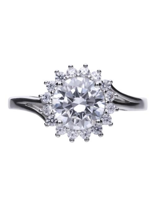 Diamonfire anillo rosetón flor con circonita de 8mm
