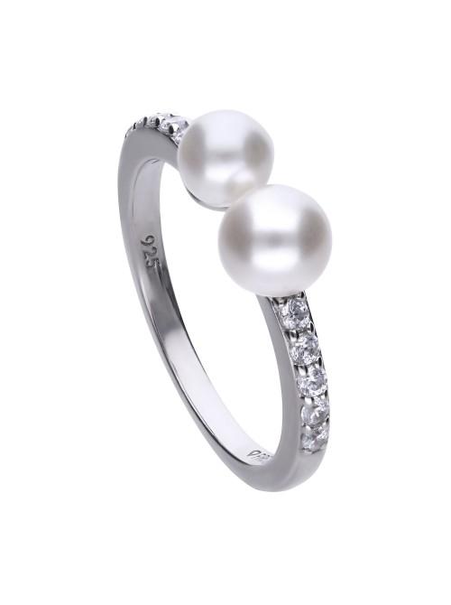 Diamonfire anillo 2 perlas circonitas