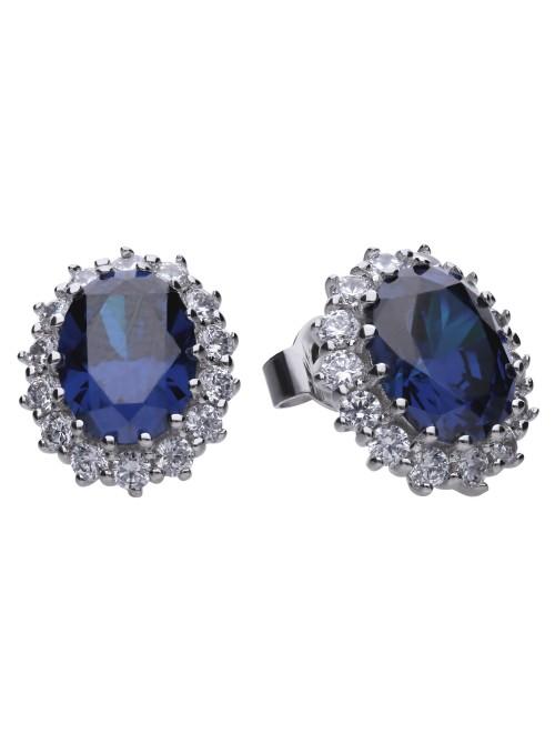 Diamonfire pendientes circonita azul con circonitas alrededor