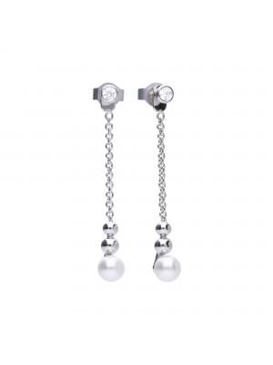 Diamonfire pendientes largos con perlas, circonitas y bolas de plata