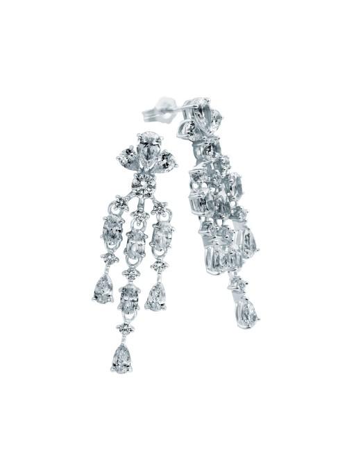 Diamonfire pendientes colgantes de plata con 8 circonitas
