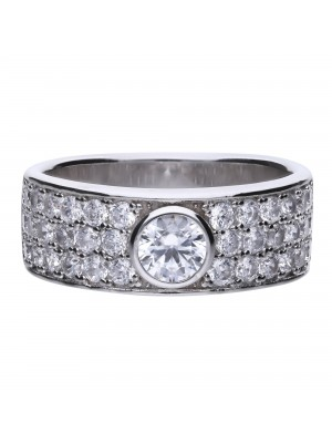 Diamonfire anillo pave con circonita central