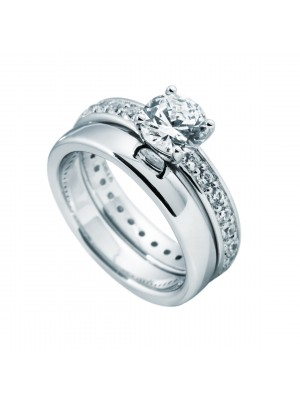 Diamonfire Anillo doble con solitario central de 7mm