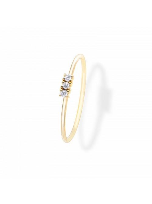 Anillo Aurum de Duran Exquse de oro 18K, tres diamantes en línea