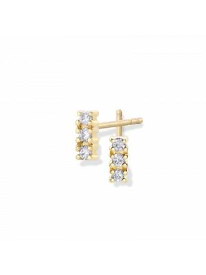 Pendientes Aurum de Duran Exquse de oro 18K, tres diamantes en línea