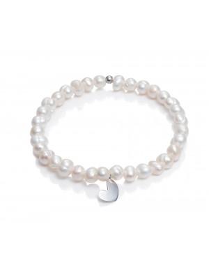 Viceroy pulsera elástica para mujer San Valentín en plata y perlas corazón