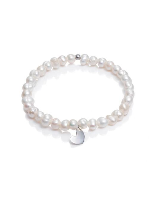 Viceroy pulsera elástica para mujer San Valentín en plata y perlas con corazón