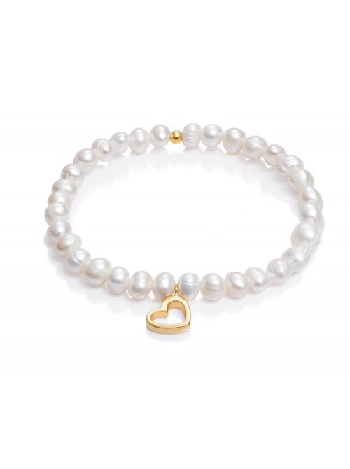 Viceroy pulsera elástica para mujer San Valentín en plata chapada y perlas corazón