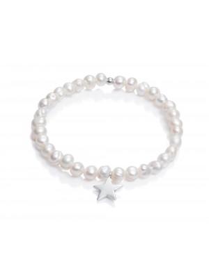 Viceroy pulsera elástica para mujer Sweet en plata chapada y perlas estrella