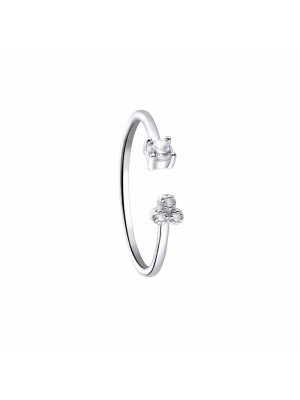 Anillo Pretty Jewels abierto, en plata de Duran Exquse, circonita y triángulo circonitas