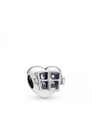 Pandora charm Corazón con ventana en plata de ley