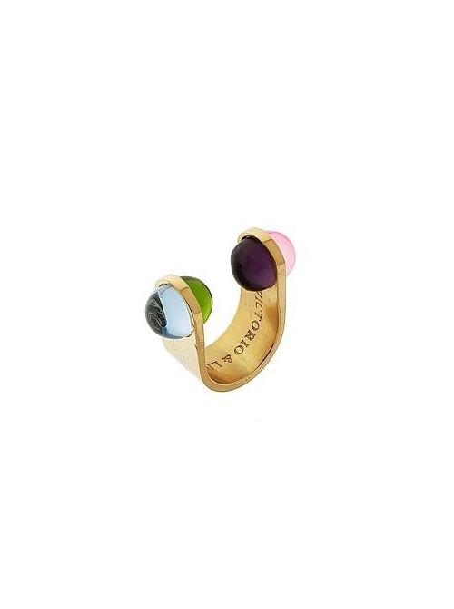 Victorio y Lucchino, anillo Alegra en plata de Ley dorada y cristales de color