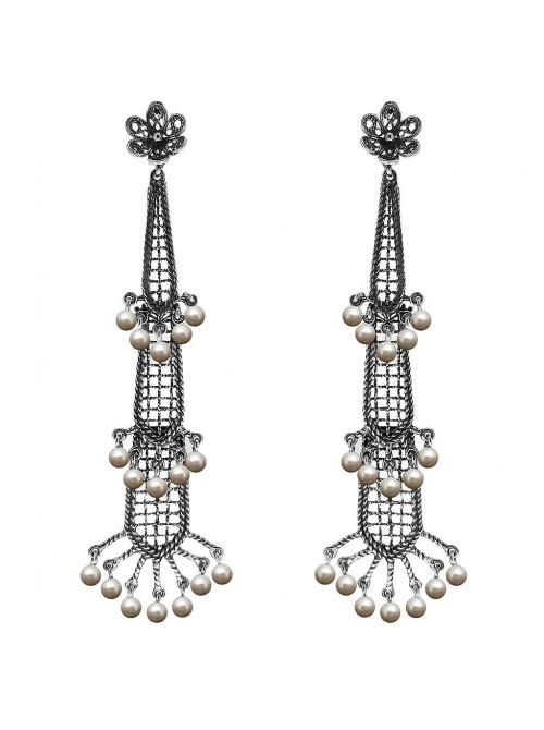 Victorio y Lucchino, pendientes Cascada de filigrana en plata y perlas